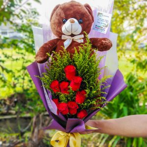 TEDDY BEAR & ROSES BOUQUET